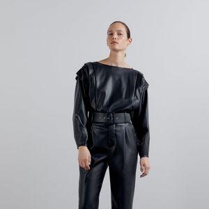 Zara Ruffle Faux Leather Top